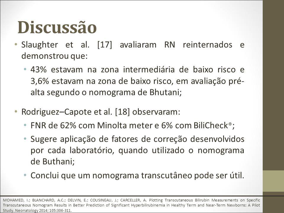 Discussão Slaughter et al. [17] avaliaram RN reinternados e demonstrou que: